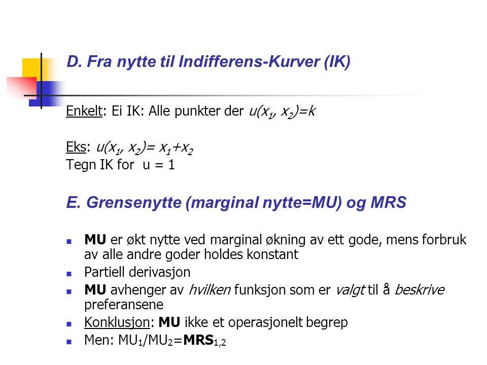 D. Fra nytte til Indifferens-Kurver (IK)