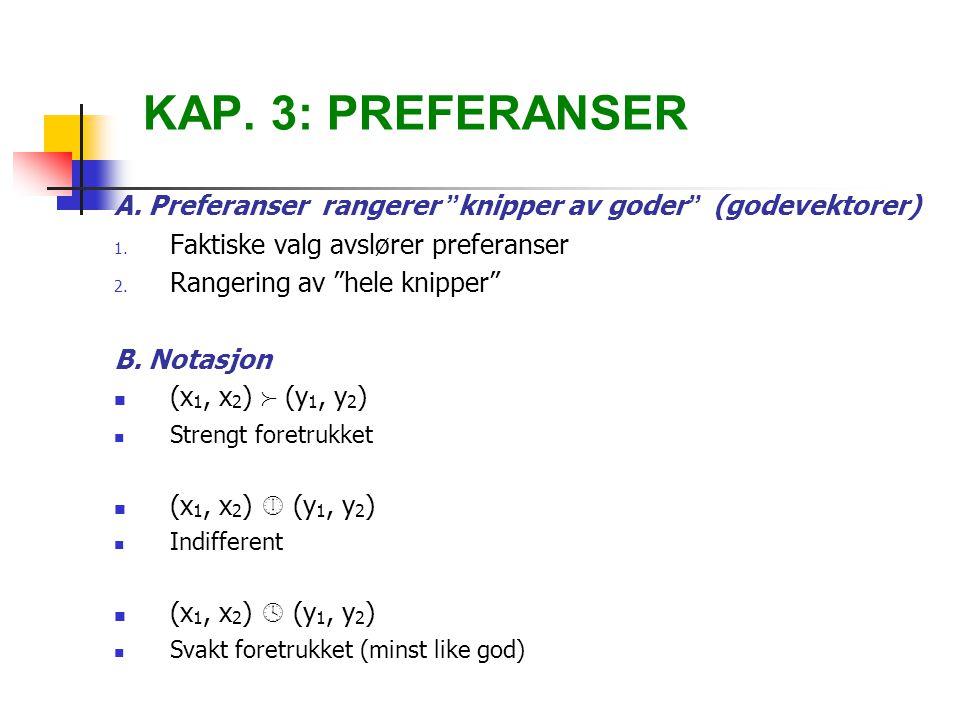 KAP. 3: PREFERANSER A. Preferanser rangerer knipper av goder (godevektorer) Faktiske valg avslører preferanser.