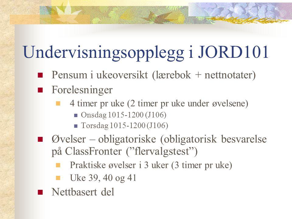 Undervisningsopplegg i JORD101