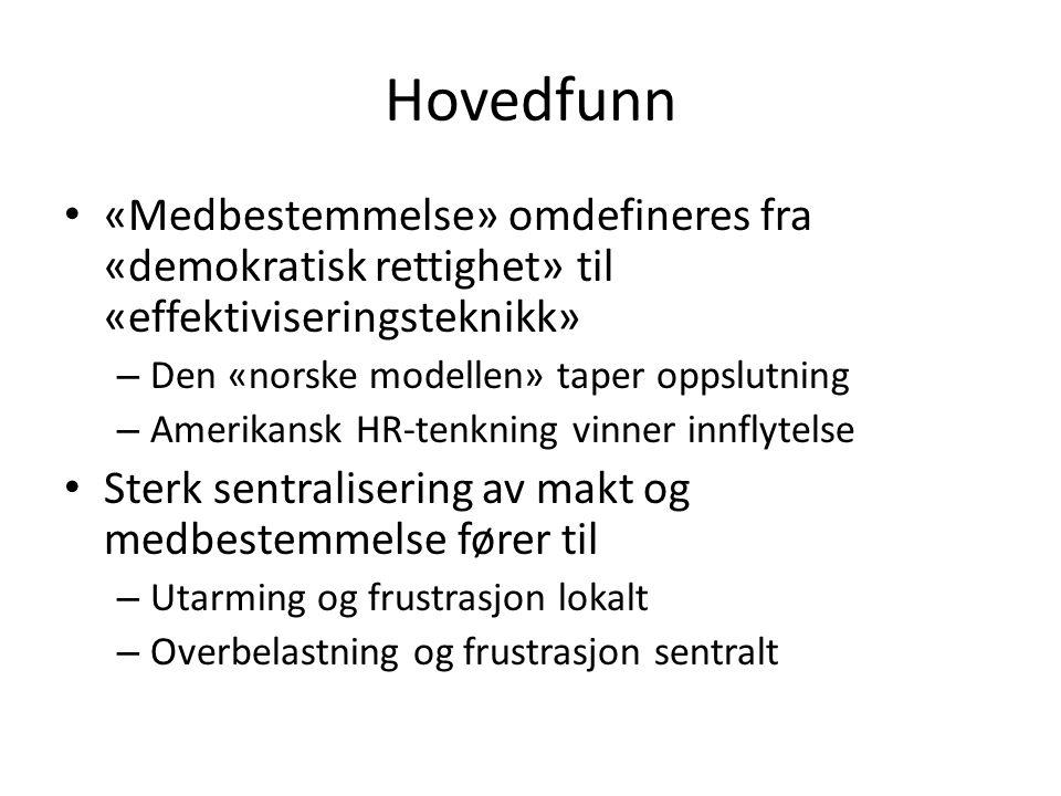 Hovedfunn «Medbestemmelse» omdefineres fra «demokratisk rettighet» til «effektiviseringsteknikk» Den «norske modellen» taper oppslutning.