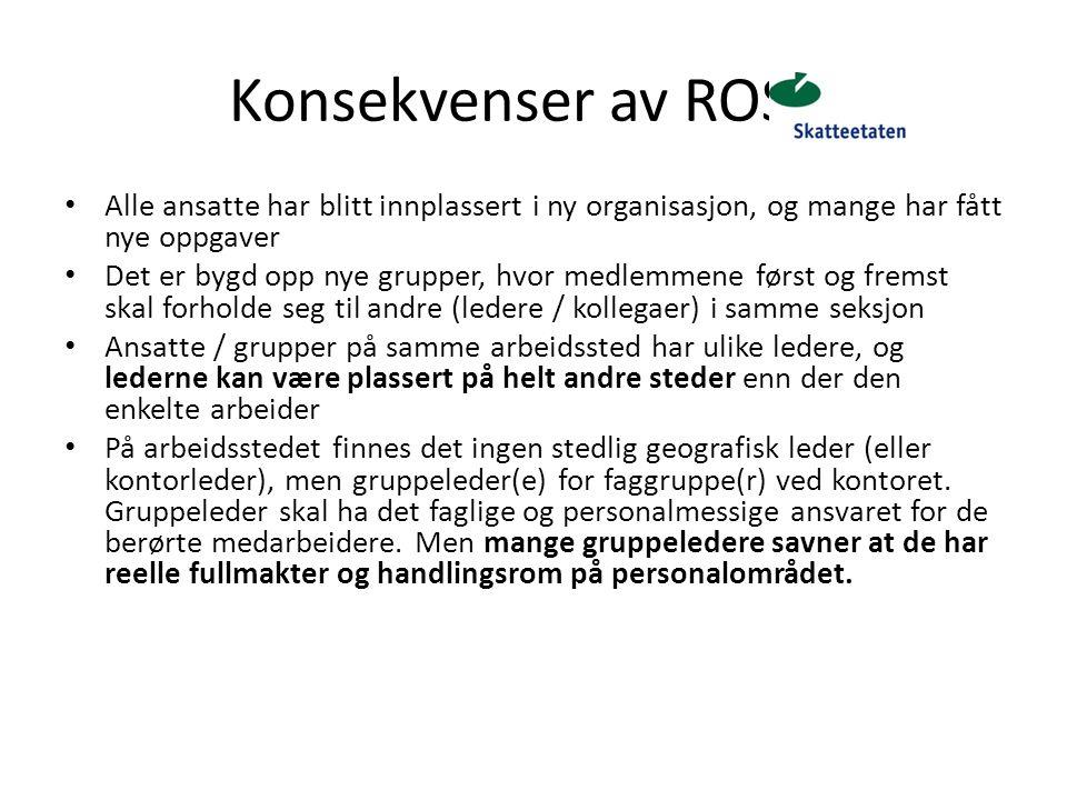 Konsekvenser av ROS 2 Alle ansatte har blitt innplassert i ny organisasjon, og mange har fått nye oppgaver.
