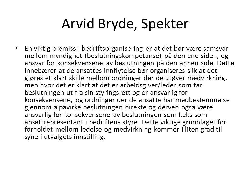 Arvid Bryde, Spekter