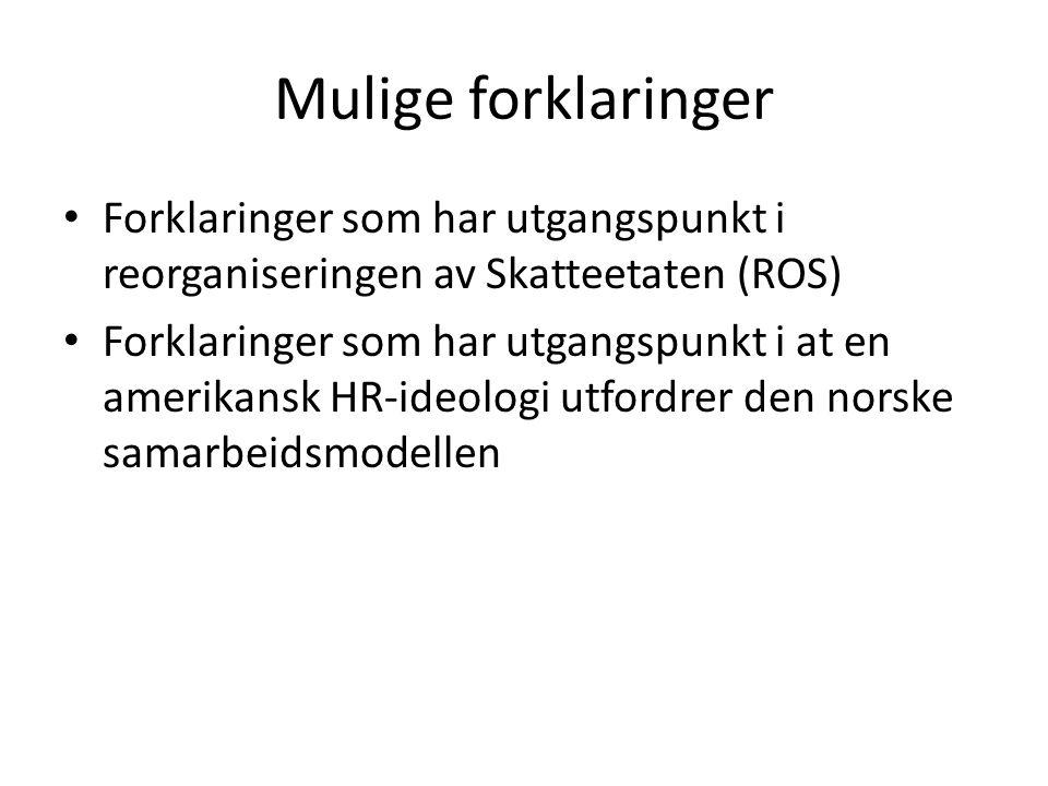 Mulige forklaringer Forklaringer som har utgangspunkt i reorganiseringen av Skatteetaten (ROS)