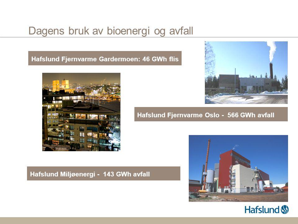 Dagens bruk av bioenergi og avfall