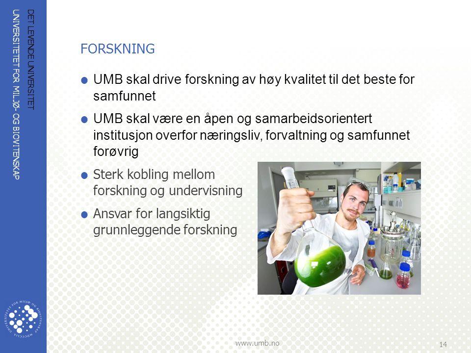 FORSKNING UMB skal drive forskning av høy kvalitet til det beste for samfunnet.