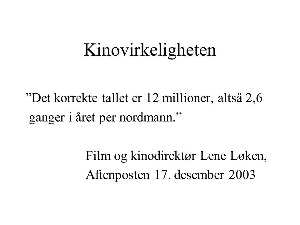 Kinovirkeligheten Det korrekte tallet er 12 millioner, altså 2,6