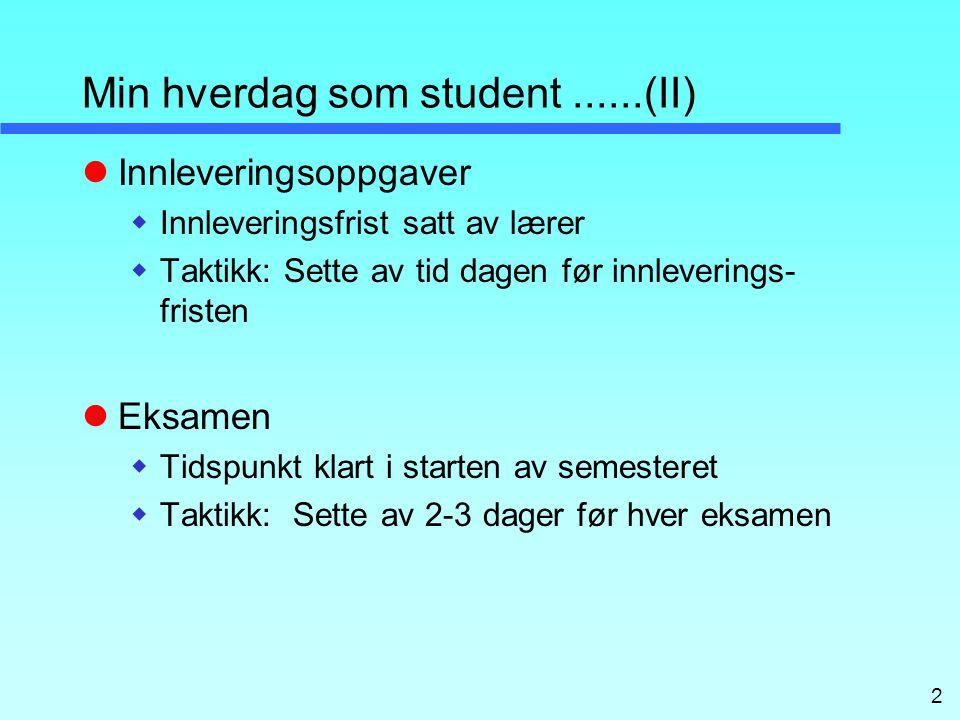 Min hverdag som student ......(II)