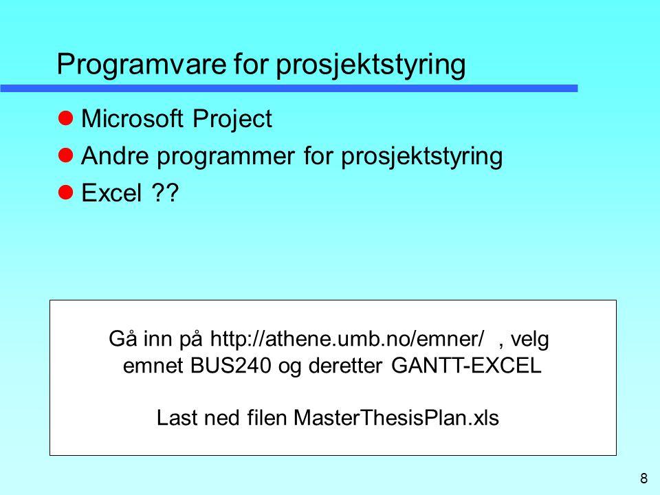 Programvare for prosjektstyring