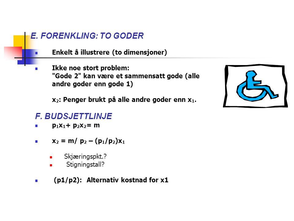 F. BUDSJETTLINJE Enkelt å illustrere (to dimensjoner)