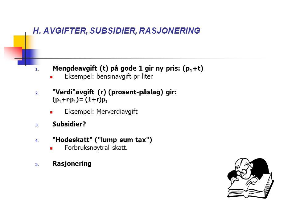 H. AVGIFTER, SUBSIDIER, RASJONERING