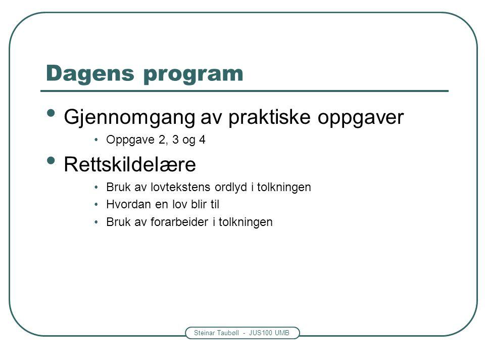 Dagens program Gjennomgang av praktiske oppgaver Rettskildelære
