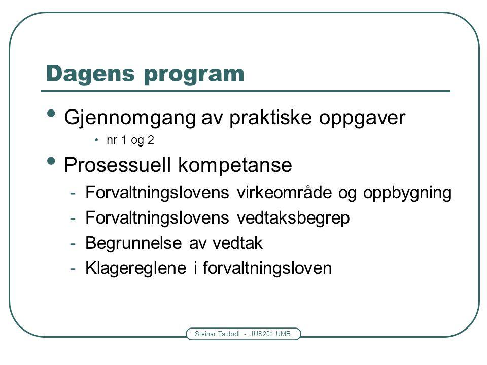 Dagens program Gjennomgang av praktiske oppgaver