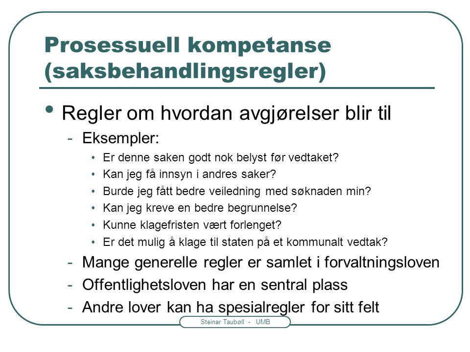Prosessuell kompetanse (saksbehandlingsregler)