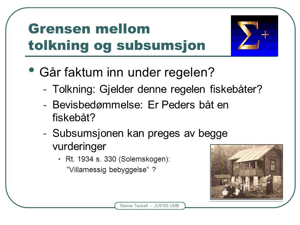 Grensen mellom tolkning og subsumsjon