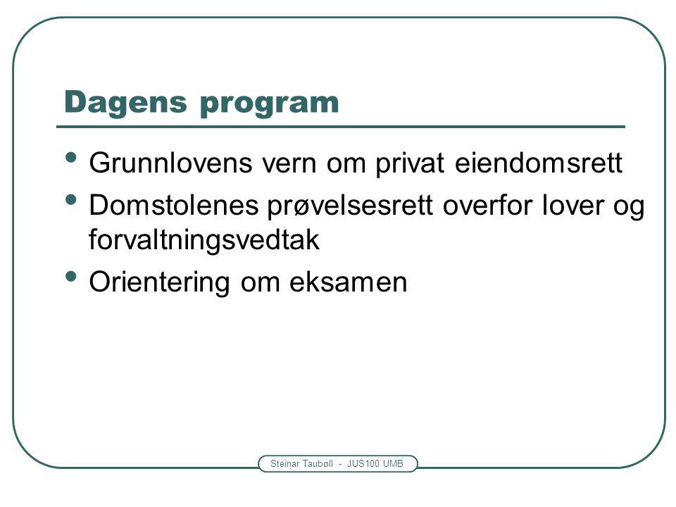 Dagens program Grunnlovens vern om privat eiendomsrett