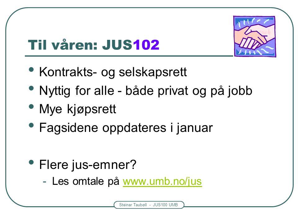 Til våren: JUS102 Kontrakts- og selskapsrett