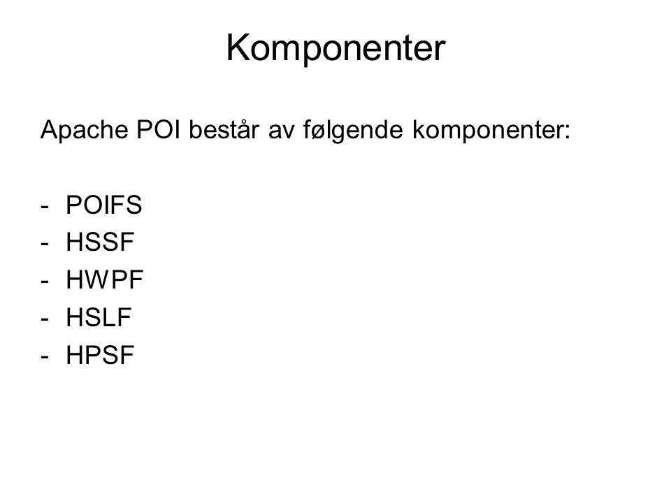 Komponenter Apache POI består av følgende komponenter: POIFS HSSF HWPF