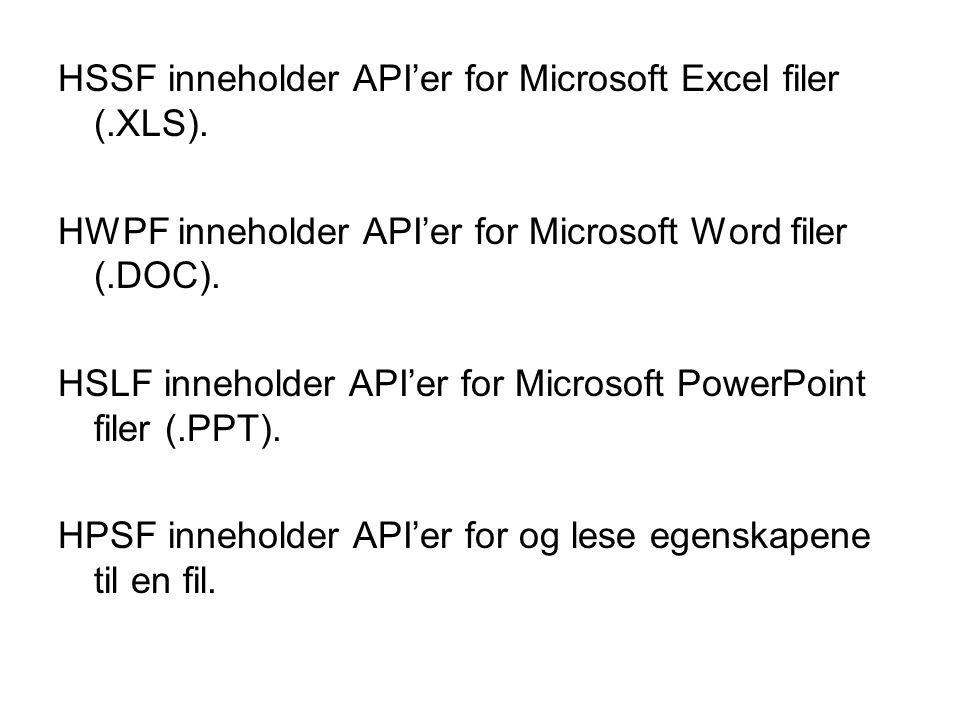 HSSF inneholder API'er for Microsoft Excel filer (.XLS).