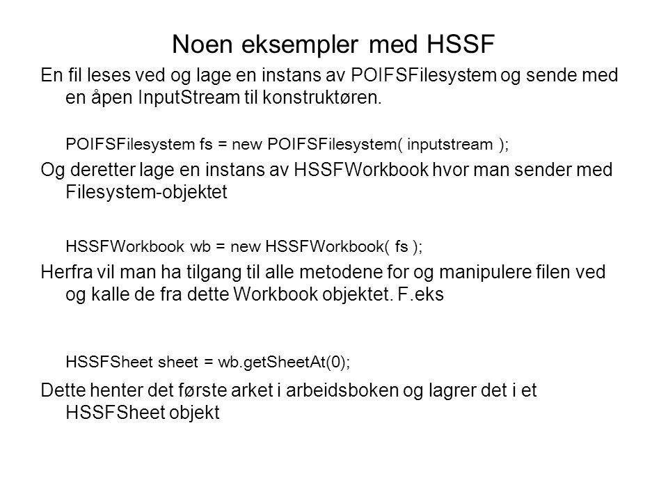 Noen eksempler med HSSF