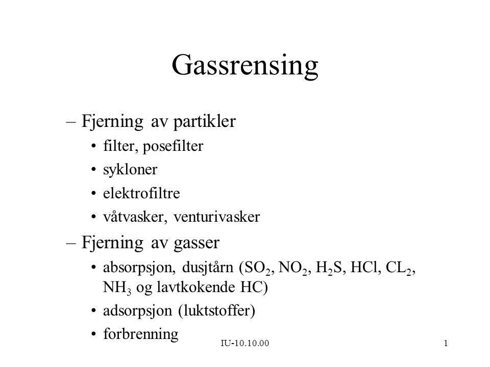 Gassrensing Fjerning av partikler Fjerning av gasser