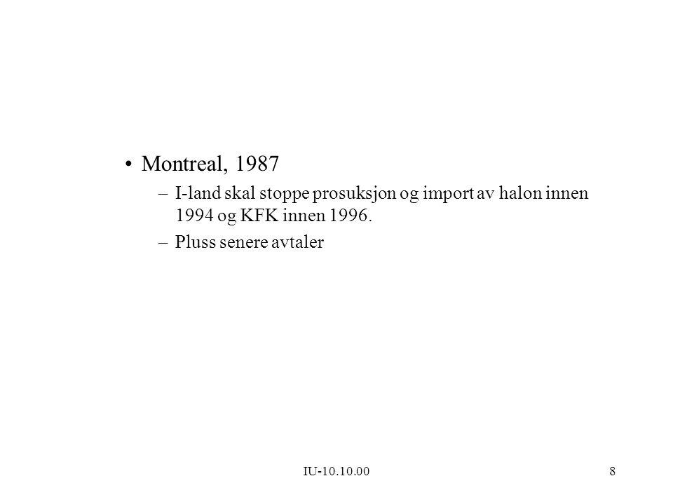 Montreal, 1987 I-land skal stoppe prosuksjon og import av halon innen 1994 og KFK innen 1996. Pluss senere avtaler.
