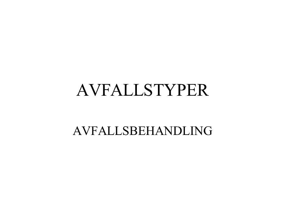 AVFALLSTYPER AVFALLSBEHANDLING