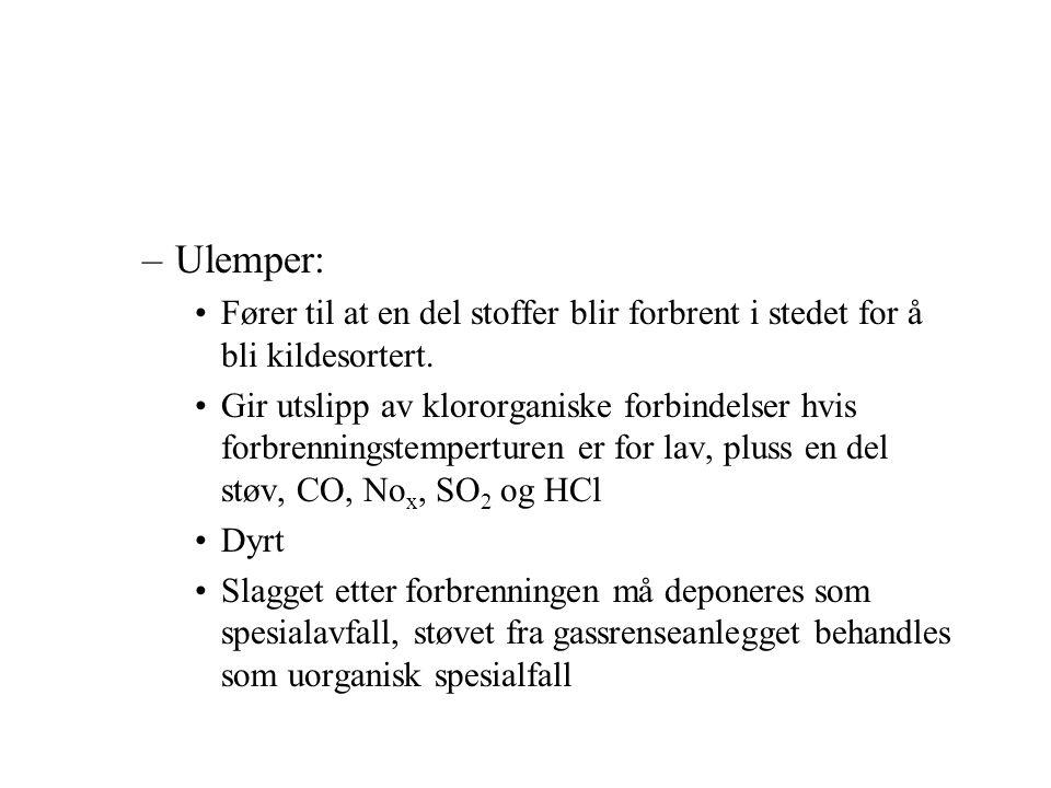 Ulemper: Fører til at en del stoffer blir forbrent i stedet for å bli kildesortert.