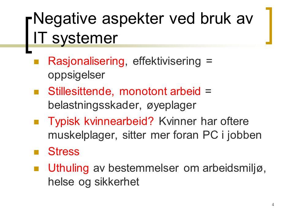 Negative aspekter ved bruk av IT systemer