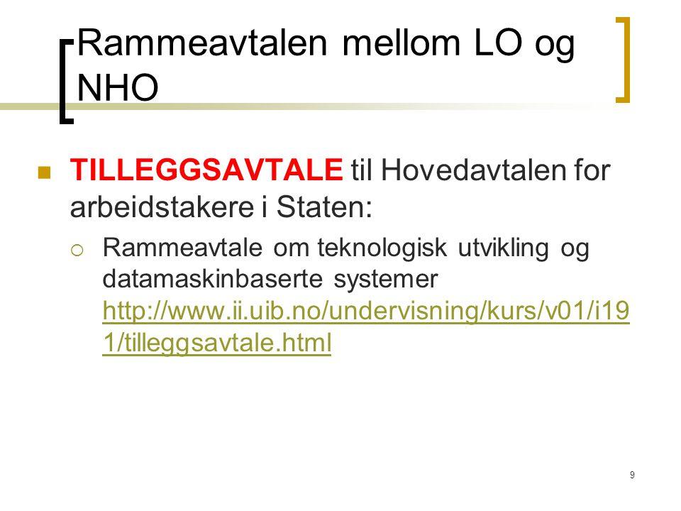 Rammeavtalen mellom LO og NHO
