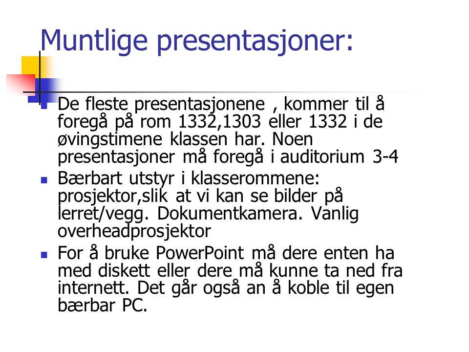 Muntlige presentasjoner: