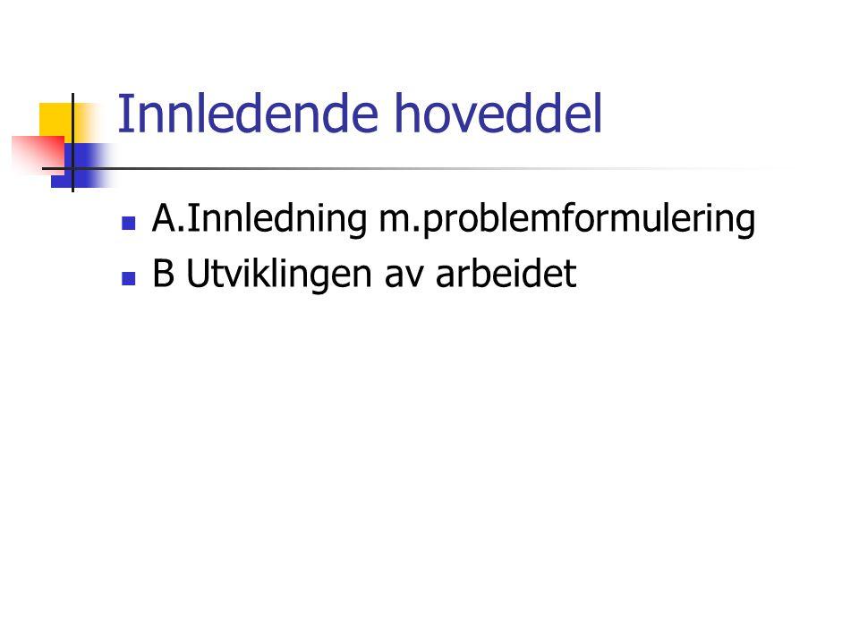 Innledende hoveddel A.Innledning m.problemformulering