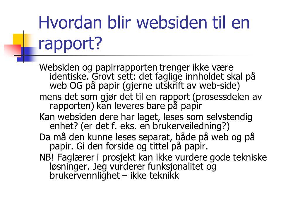 Hvordan blir websiden til en rapport
