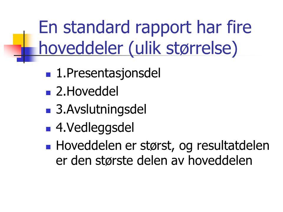 En standard rapport har fire hoveddeler (ulik størrelse)
