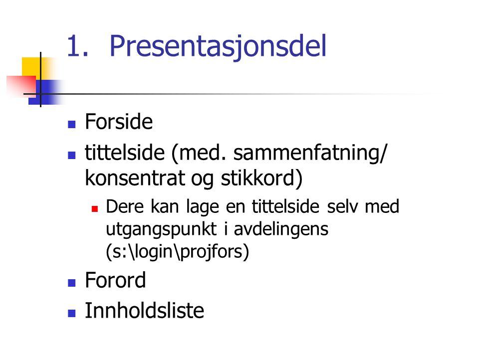 Presentasjonsdel Forside