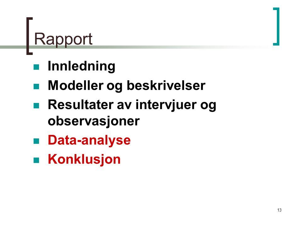 Rapport Innledning Modeller og beskrivelser