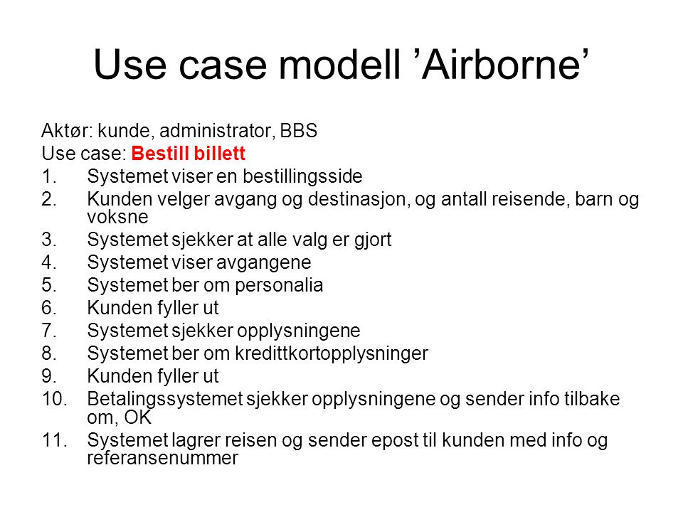 Use case modell 'Airborne'