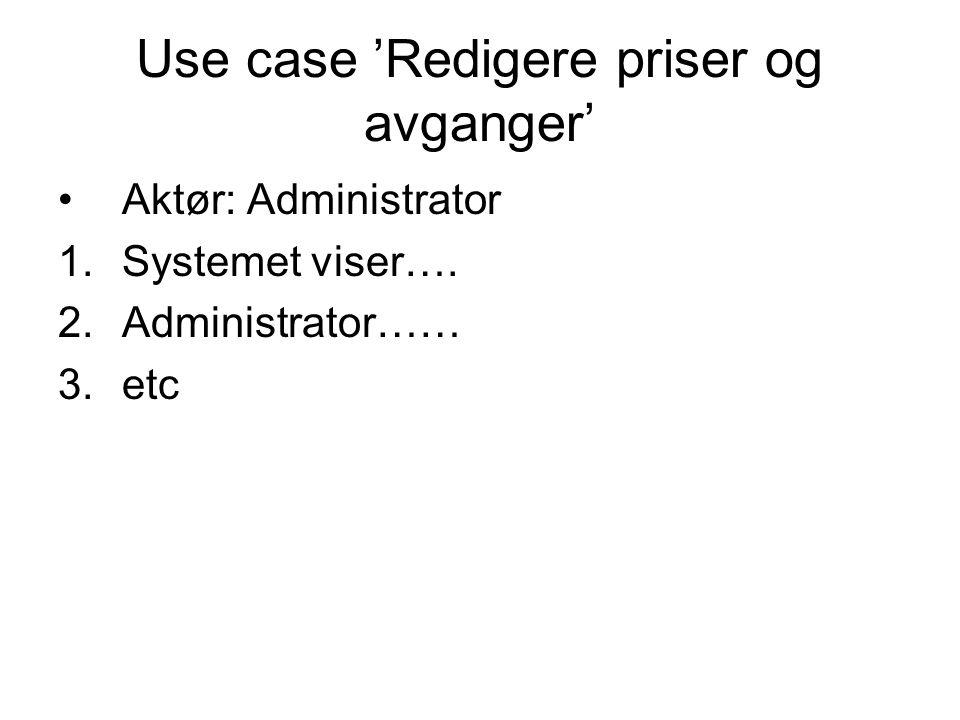Use case 'Redigere priser og avganger'