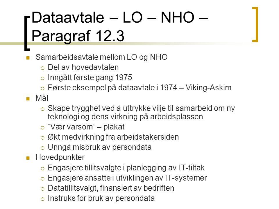 Dataavtale – LO – NHO – Paragraf 12.3