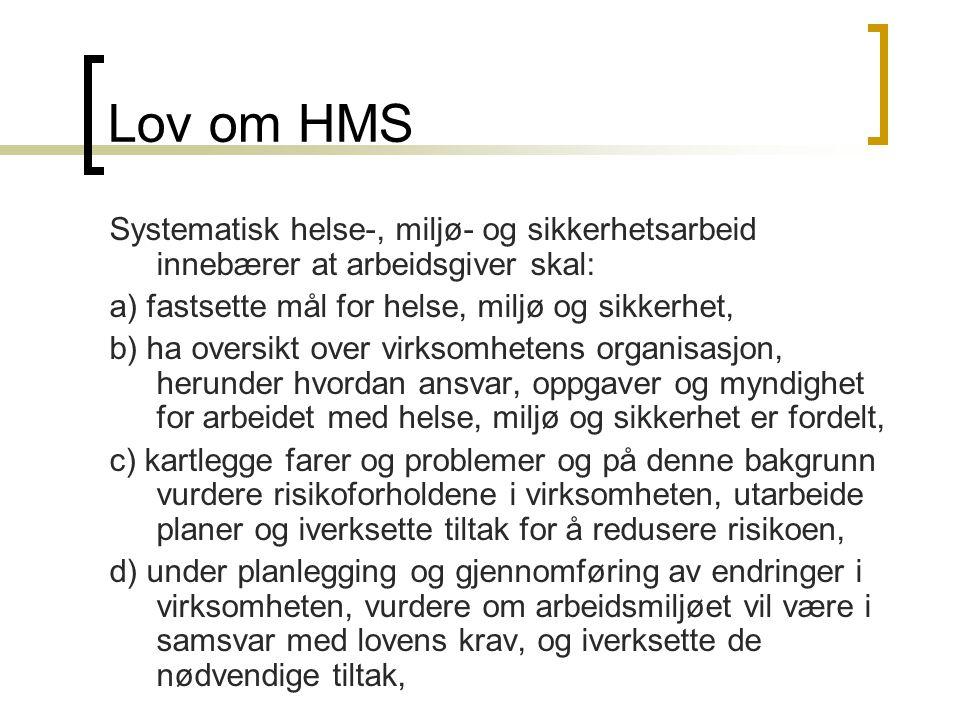 Lov om HMS Systematisk helse-, miljø- og sikkerhetsarbeid innebærer at arbeidsgiver skal: a) fastsette mål for helse, miljø og sikkerhet,