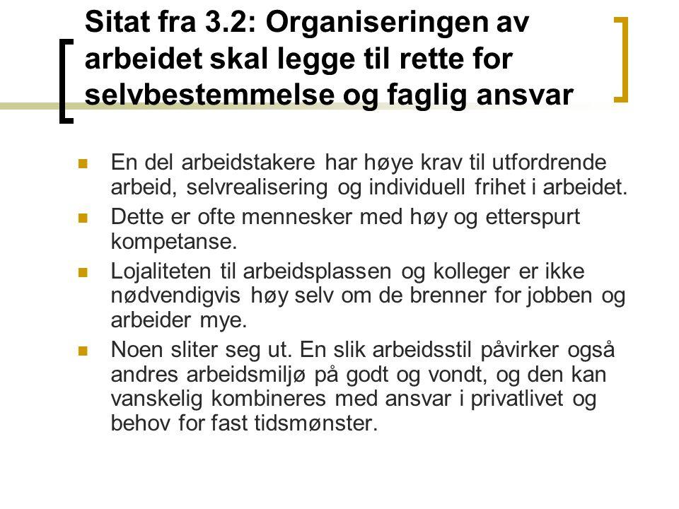 Sitat fra 3.2: Organiseringen av arbeidet skal legge til rette for selvbestemmelse og faglig ansvar