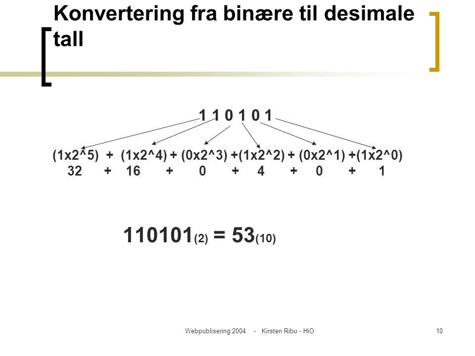 Konvertering fra binære til desimale tall