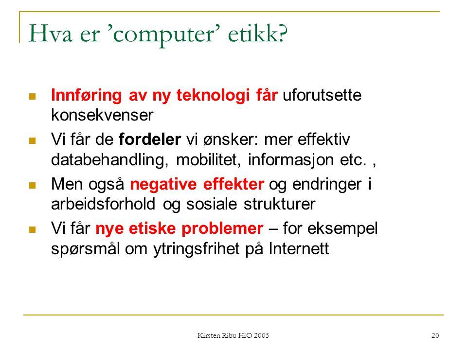 Hva er 'computer' etikk