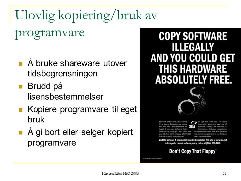 Ulovlig kopiering/bruk av programvare