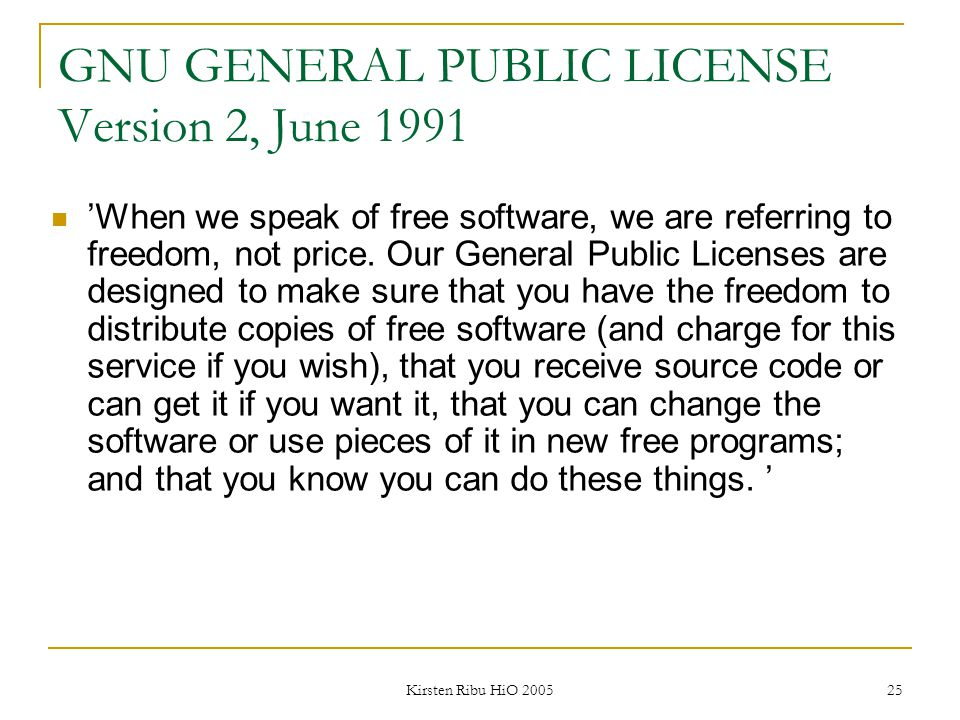 GNU GENERAL PUBLIC LICENSE Version 2, June 1991