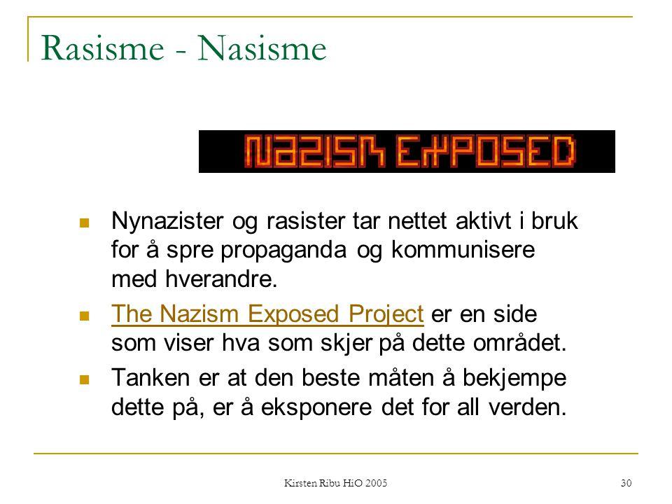 Rasisme - Nasisme Nynazister og rasister tar nettet aktivt i bruk for å spre propaganda og kommunisere med hverandre.
