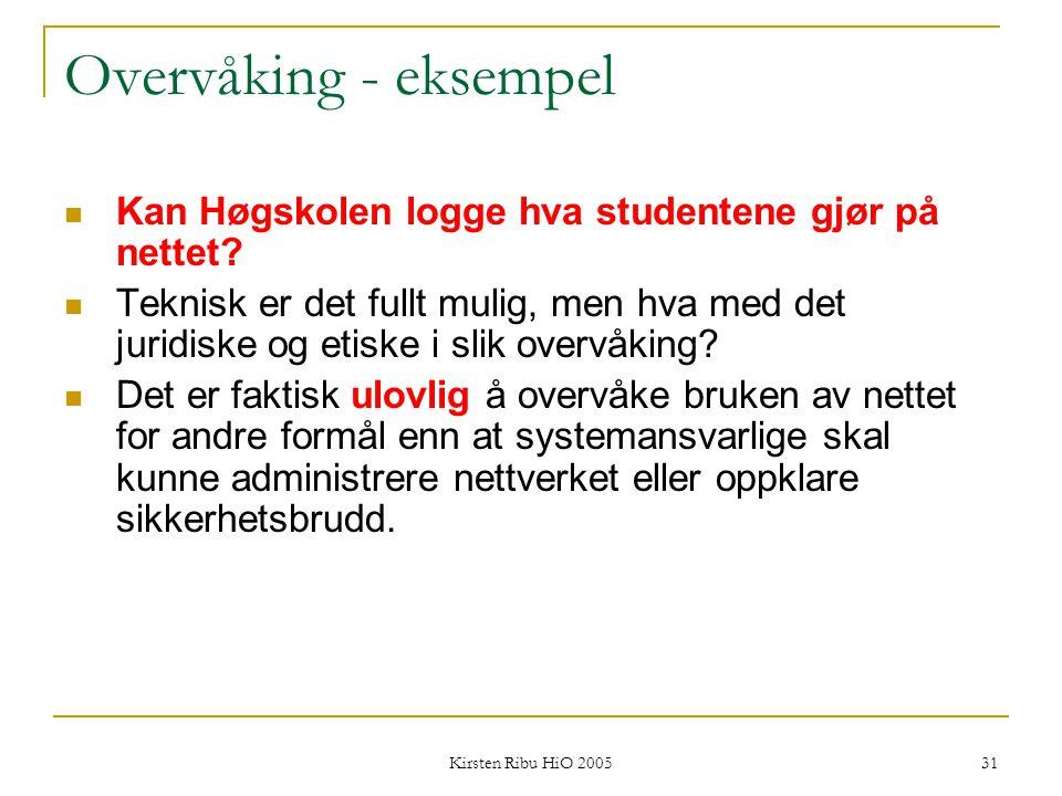 Overvåking - eksempel Kan Høgskolen logge hva studentene gjør på nettet