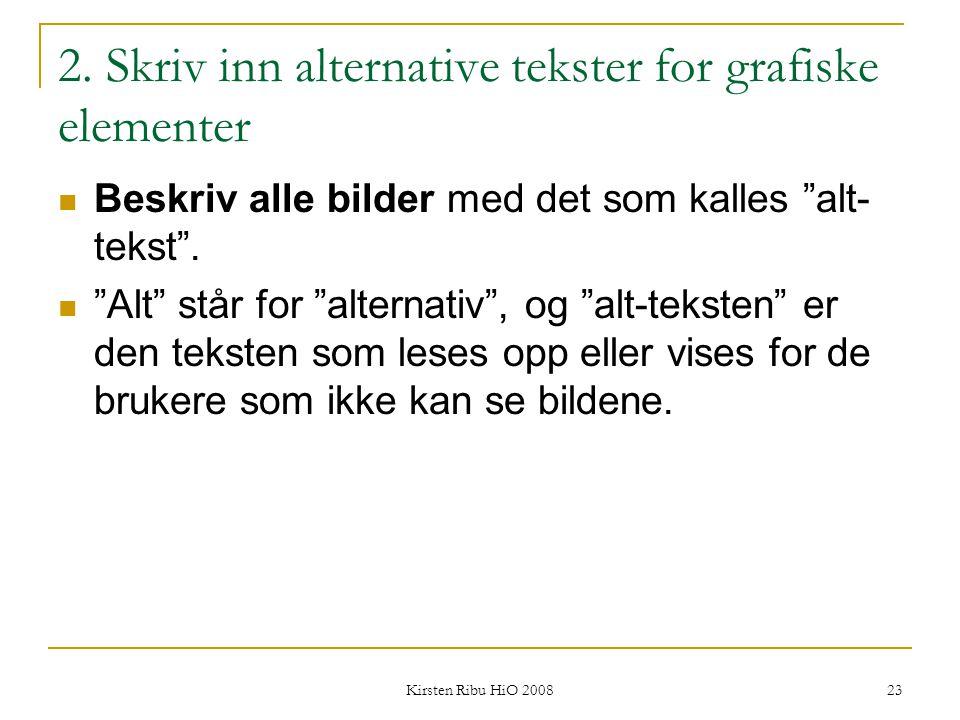 2. Skriv inn alternative tekster for grafiske elementer