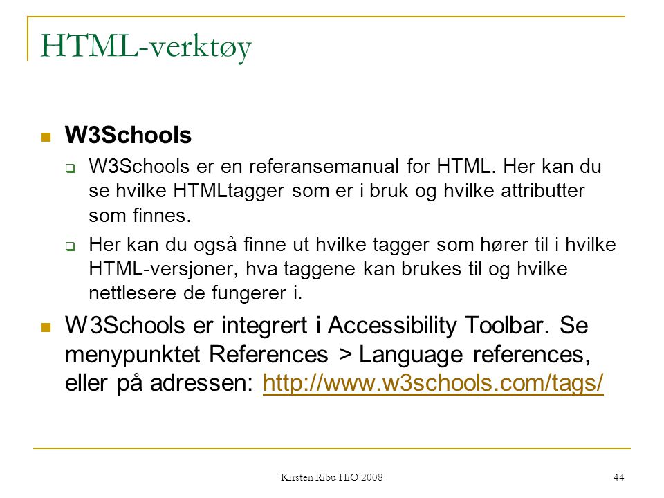 HTML-verktøy W3Schools