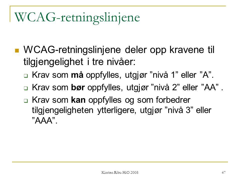 WCAG-retningslinjene