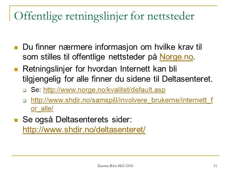 Offentlige retningslinjer for nettsteder